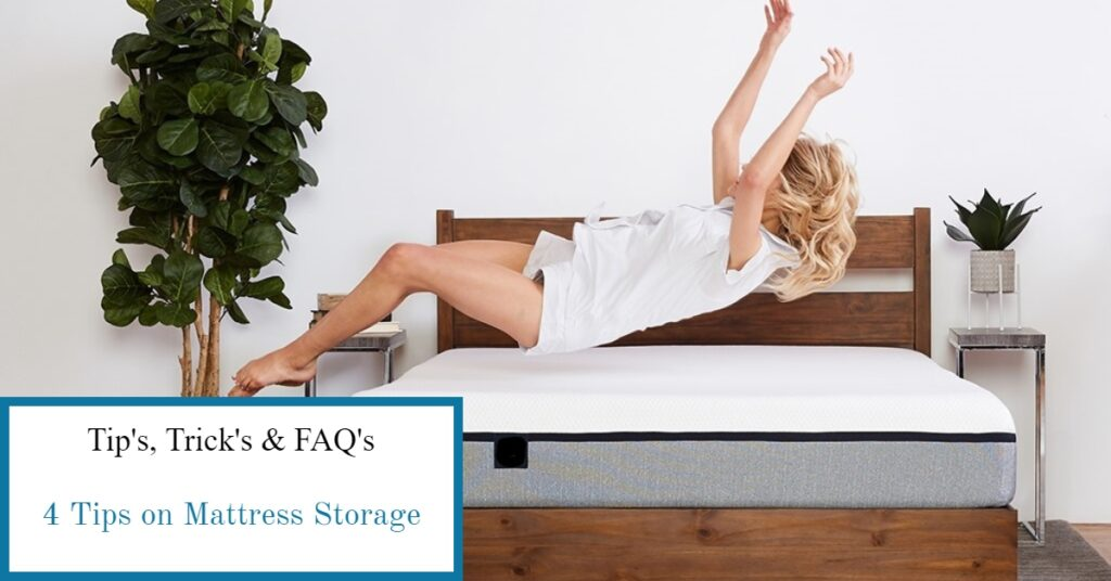 attractive woman joyfully bouncing on a mattress, happy it was safe in self storage